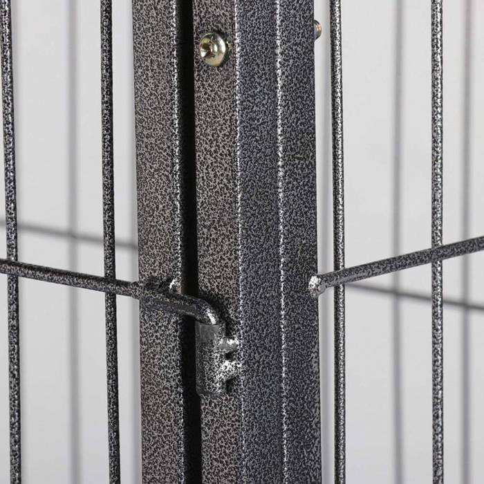 A detail of dog crate frame and welded wire mesh grilles.