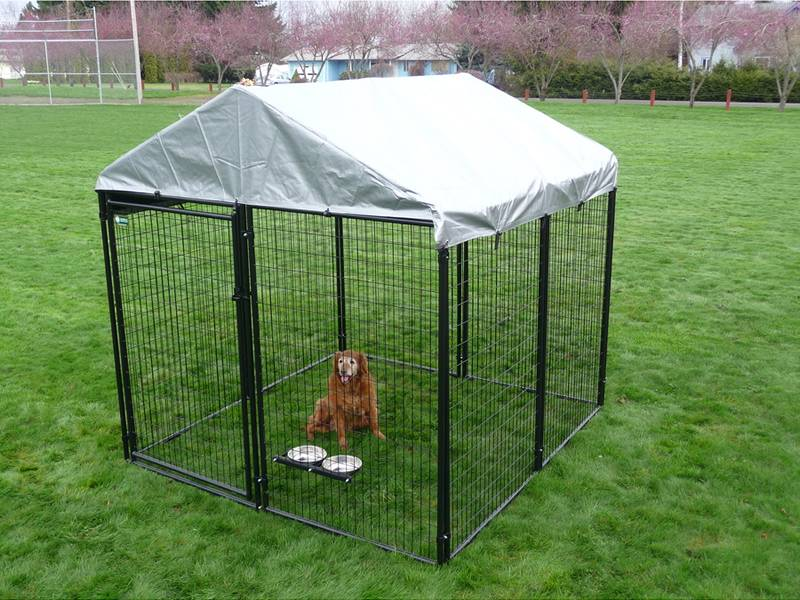 A dog is sitting in the black modular welded kennels on the grassland.