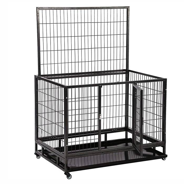 A heavy duty dog crate with top and front door open.