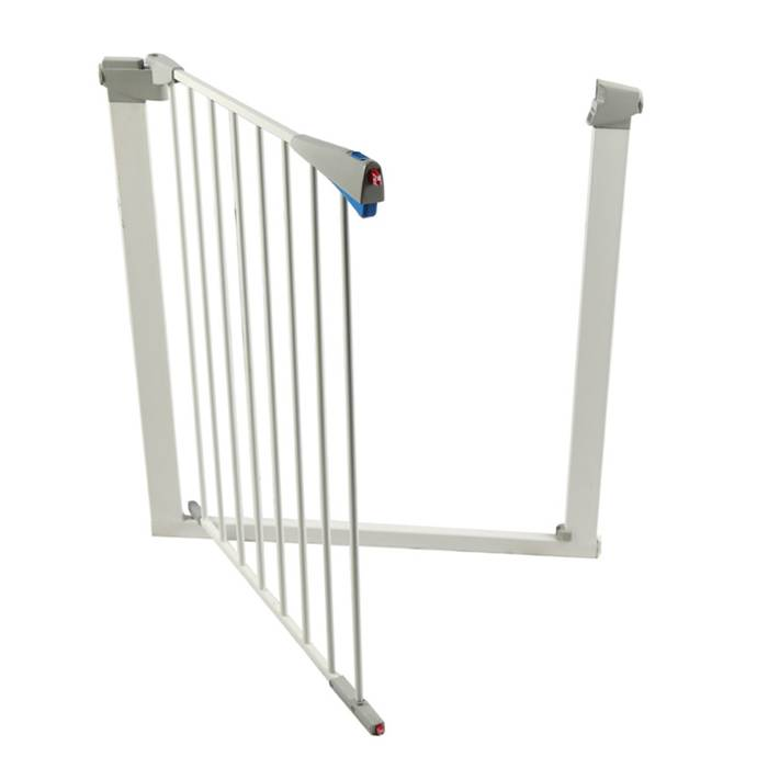 A pet safety gate is half open.